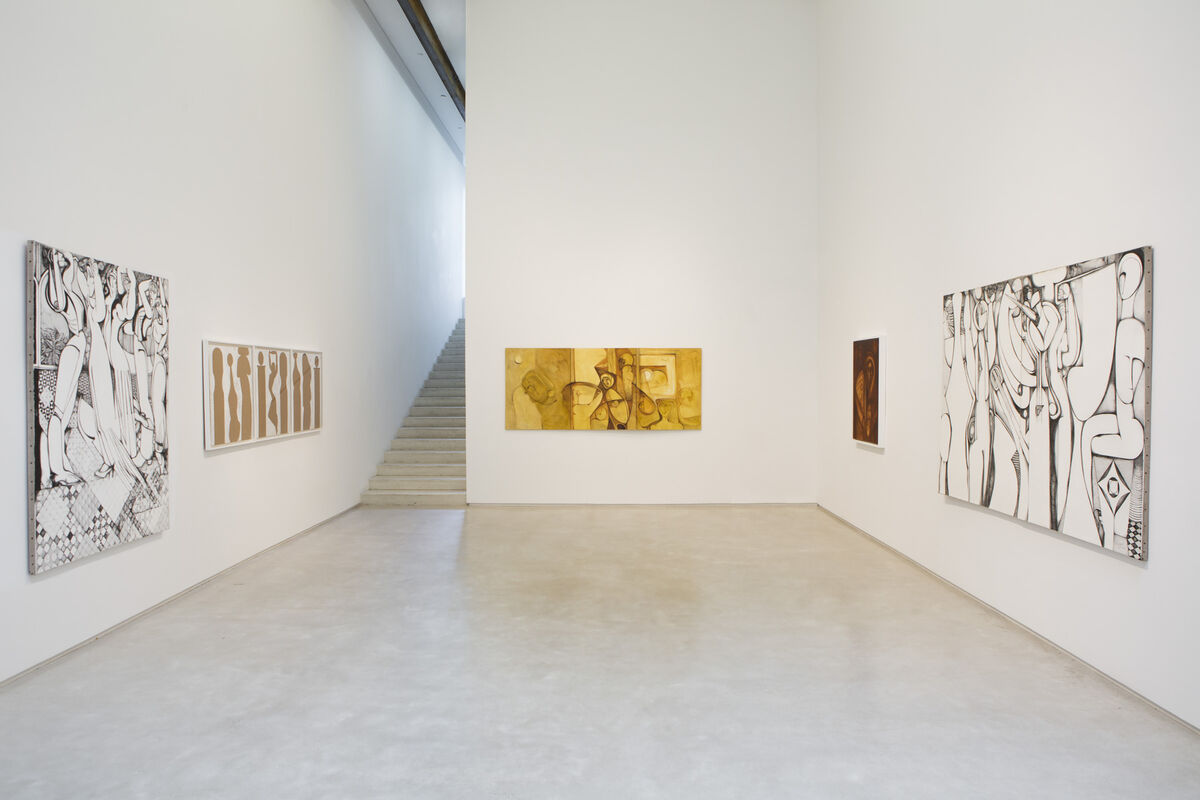 "Installation view of ""Ibrahim El-Salahi: Alhambra"" at Salon 94, New York. Courtesy of Salon 94 and the artist."
