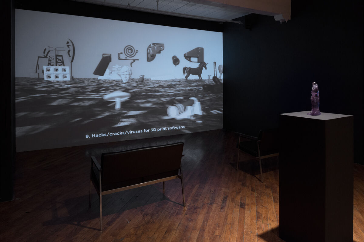 "Installation view of ""Morehshin Allahyari – Material Speculation"" courtesy of Trinity Square Video. Photo by Jesse Boles."