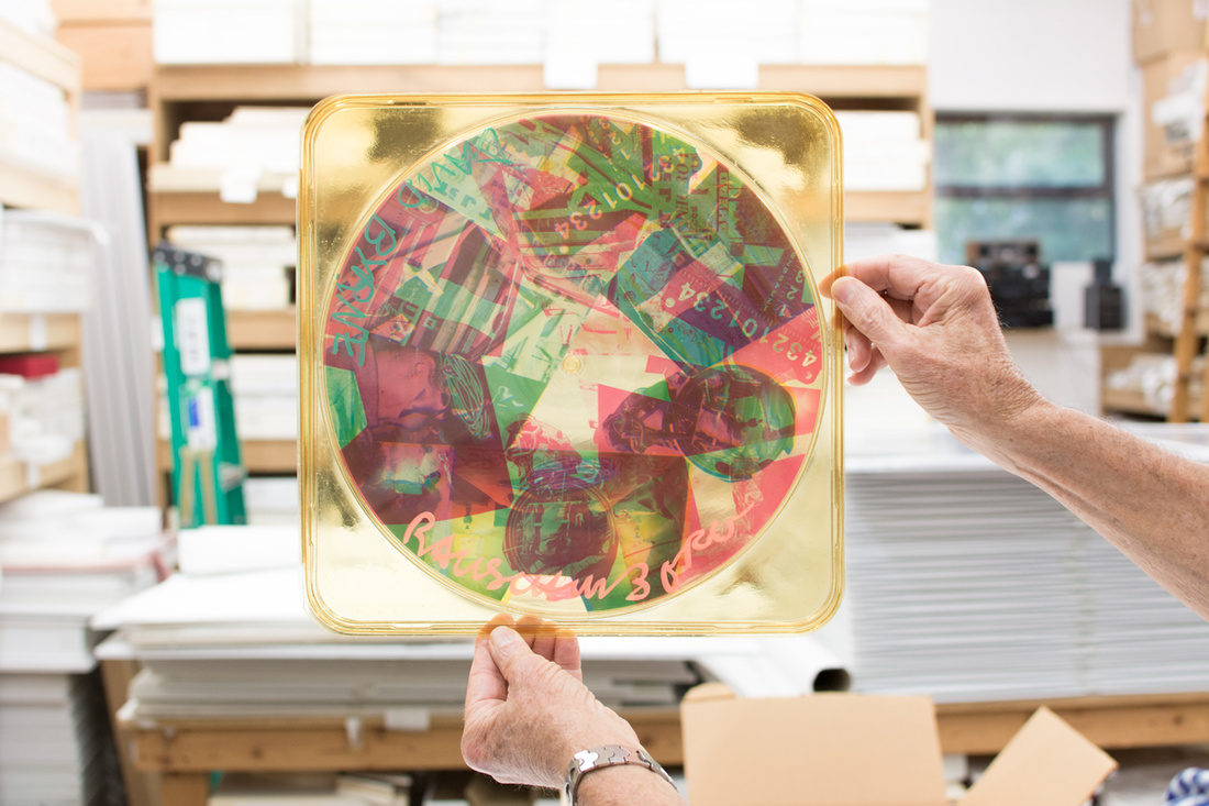 A copy of the original Rauschenberg-designedSpeaking in Tonguesalbum cover, signed by David Byrne and the artist himself. Photo: Abigail Cain