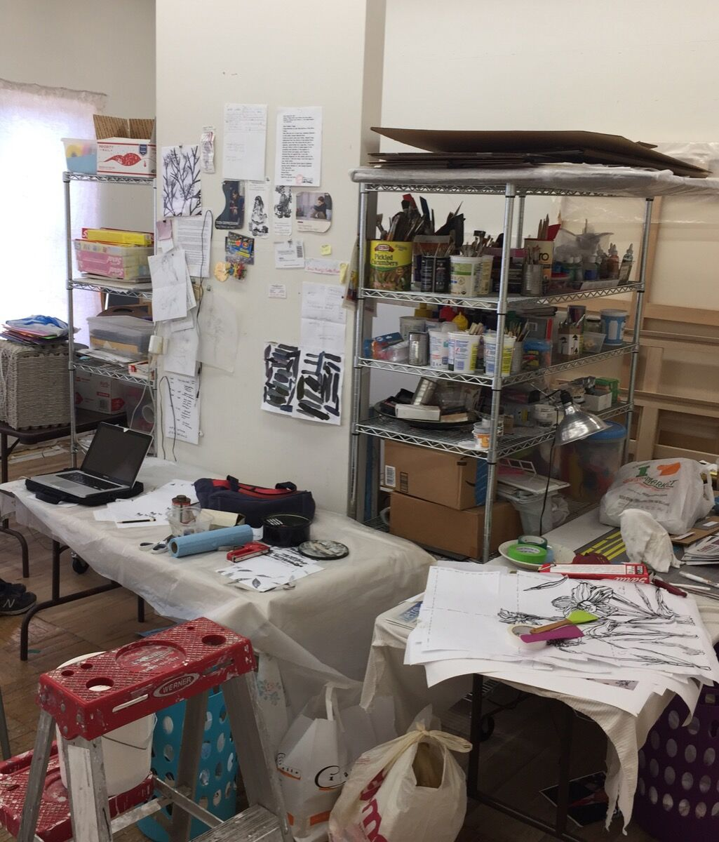 Ghada Amer and Reza Farkhondeh's shared studio space. Courtesy of the artists.