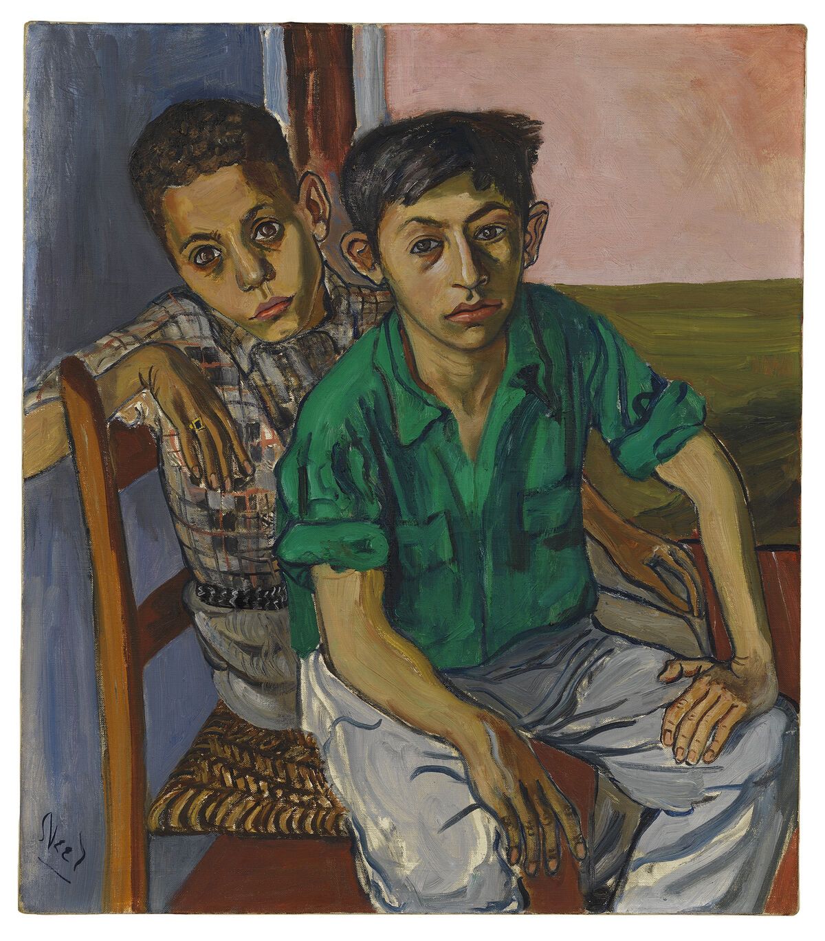 Alice Neel, Two Puerto Rican Boys, 1956.Jeff and Mei Sze Greene Collection. © The Estate of Alice Neel. Courtesy David Zwirner, New York/London and Victoria Miro, London.