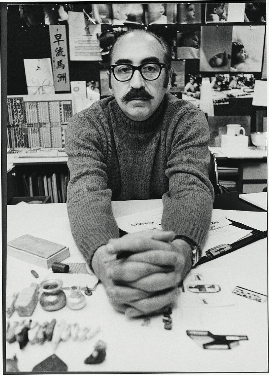 Saul in his office, 1970s. From Saul Bass: A Life in Film & Design. Courtesy of Laurence King Publishing.