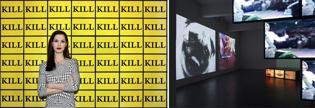 "Portrait of Julia Stoschekin front ofSTURTEVANT's""Kill-Wallpaper""(2003). Photo byŞirin Şimşek.Installation view,NUMBER EIGHT: STURTEVANT, Julia Stoschek Collection,Düsseldorf. Photo bySimon Vogel."