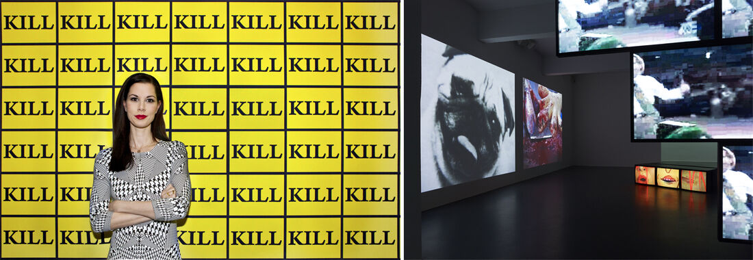 "Portrait of Julia Stoschek in front of STURTEVANT's ""Kill-Wallpaper"" (2003). Photo by Şirin Şimşek.Installation view, NUMBER EIGHT: STURTEVANT, Julia Stoschek Collection, Düsseldorf. Photo by Simon Vogel."
