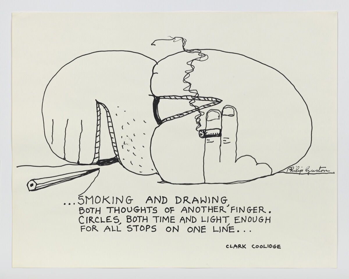 Philip Guston, ...Smoking and Drawing, ca. 1972-1975. © Estate of Philip Guston. Courtesy of the Guston Foundation. Photo by Genevieve Hanson.