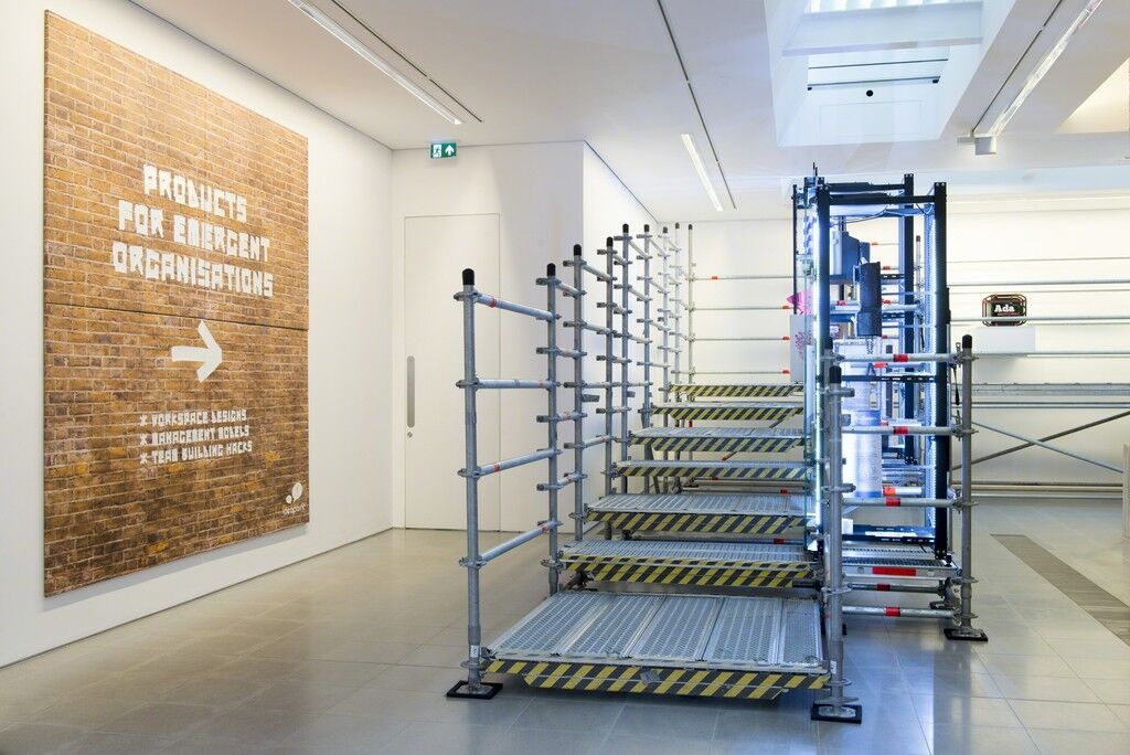 "Installation view of Simon Denny's ""Products for Organising"" at Serpentine Sackler Gallery. Photo © 2015 readsreads.info, courtesy of the gallery."