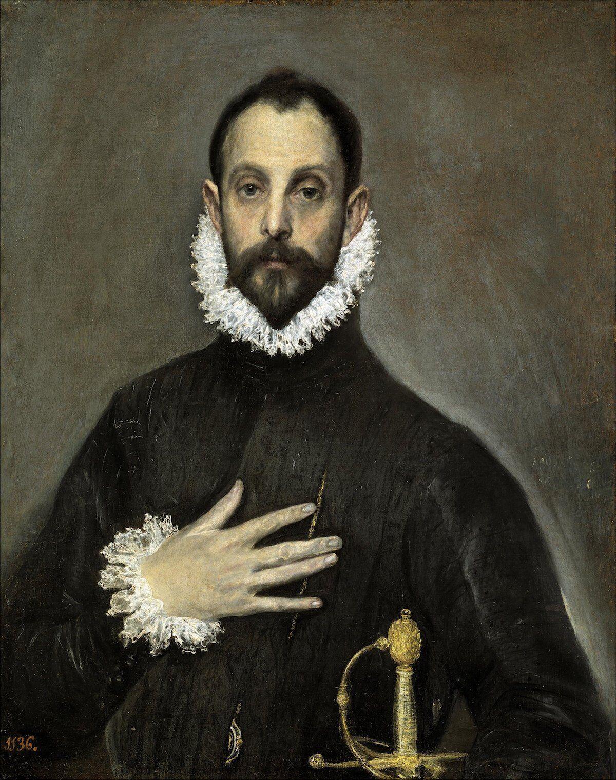 El Greco, The Nobleman with his Hand on his Chest, c. 1580. Museo Nacional del Prado, via Wikimedia Commons.