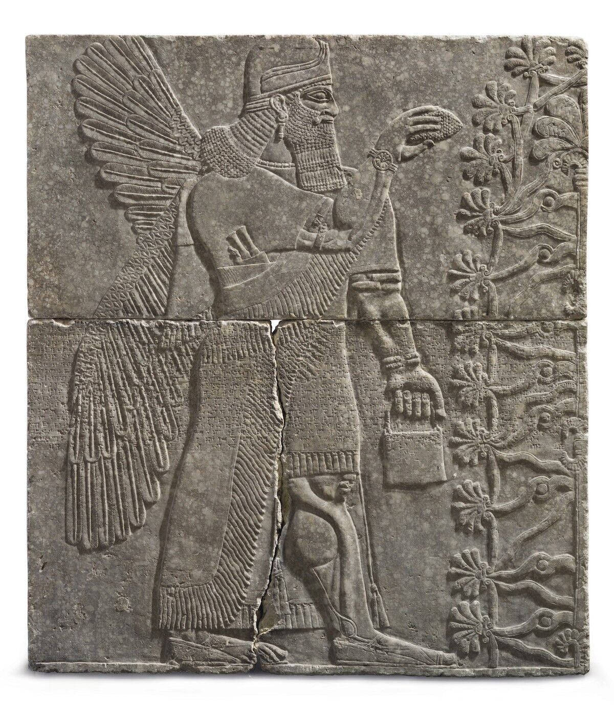 An Assyrian gypsum relief of a Winged Genius, reign of Ashurnasirpal II, circa 883–859 B.C.E. Est. between $10 million and $15 million. Photo courtesy Christie's Images Ltd. 2018.