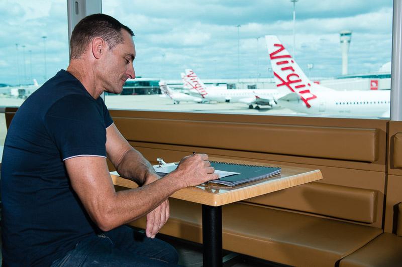 Artist Robert Brownhall at Brisbane Airport. Courtesy ofBrisbane Airport.