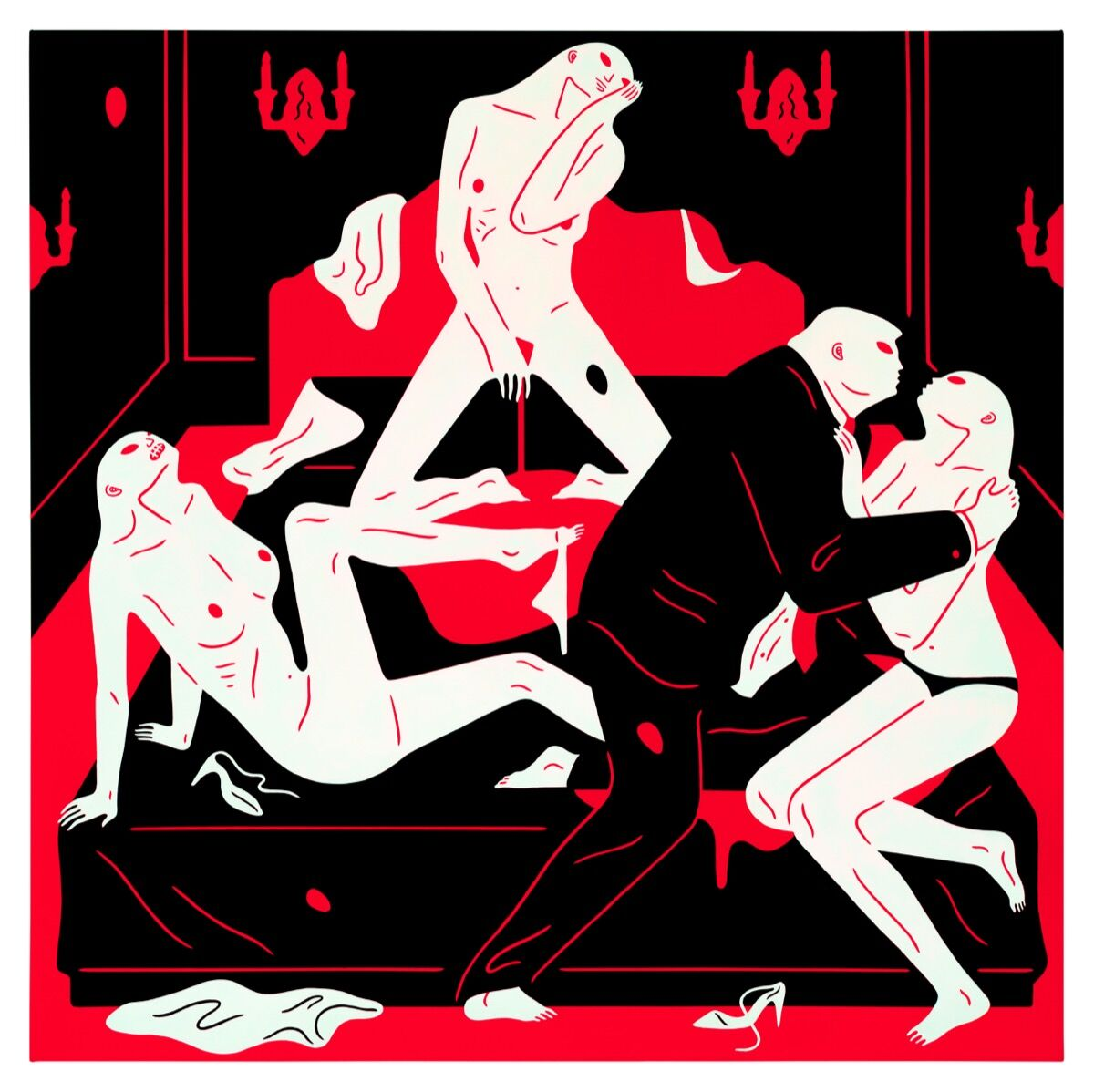 Cleon Peterson, The Pissers II, 2018. Photo by Aaron Farley. Courtesy of the artist and Over the Influence.