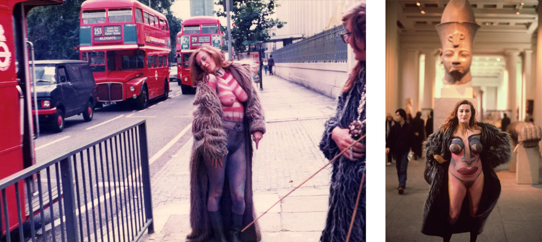 Left:Neo Naturists, Swimming and Walking Experiment, Centre Point Fountains, Tottenham Court Rd, London, Aug 1984; Right:Neo Naturists, Flashing in the British Museum, Christine Binnie body painted and photographed by Wilma Johnson, British Museum London, 3 March 1982. Courtesy of the Neo Naturists Archive and Studio Voltaire.