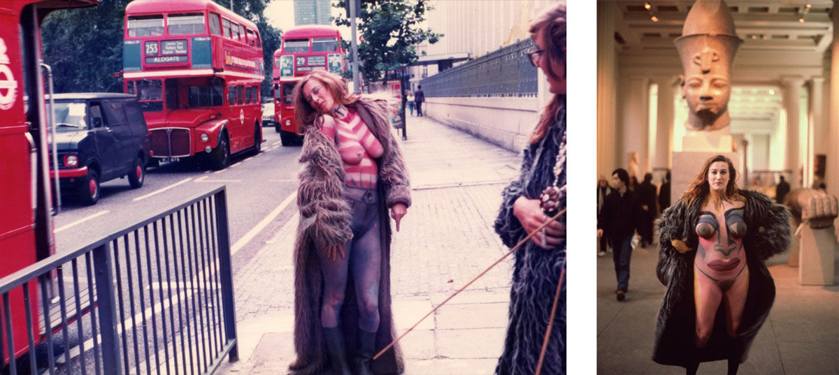 Left: Neo Naturists, Swimming and Walking Experiment, Centre Point Fountains, Tottenham Court Rd, London, Aug 1984; Right: Neo Naturists, Flashing in the British Museum, Christine Binnie body painted and photographed by Wilma Johnson, British Museum London, 3 March 1982. Courtesy of the Neo Naturists Archive and Studio Voltaire.