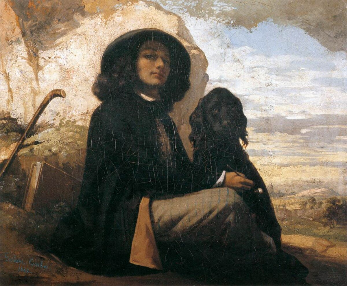 Gustave Courbet, Courbet with a Black Dog, 1942. Image via Wikimedia