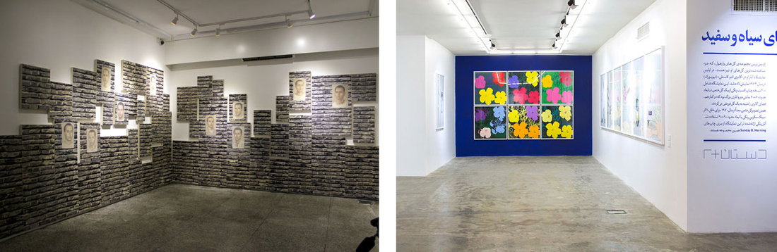 """Left: Installation view of works by Y.Z. Kami at """"Mass Individualism: A Form of Multitude"""" at Ab-Anbar. Photo courtesy of the gallery; Right: Installation view of a recent exhibition at Dastan's Basement. Photo courtesy of the gallery."""