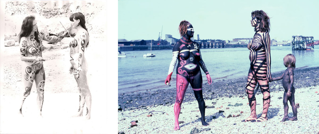 Left: Neo Naturists, Sexist Crabs and The Cosmic Egg, Portland Bill Quarry and Sculpture Park, Portland, Yorkshire, 1 Aug 1983; Right:Neo Naturists, Black Rapport Day, Thames Beach Wapping, 17 July 1982 (Jennifer Binnie, Wilma Johnson, Nico Holah and Bruce Lacey). Courtesy of the Neo Naturists Archive and Studio Voltaire.