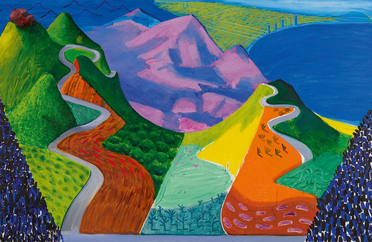 David Hockney, Pacific Coast Highway and Santa Monica, 1990. Courtesy of Sotheby's.