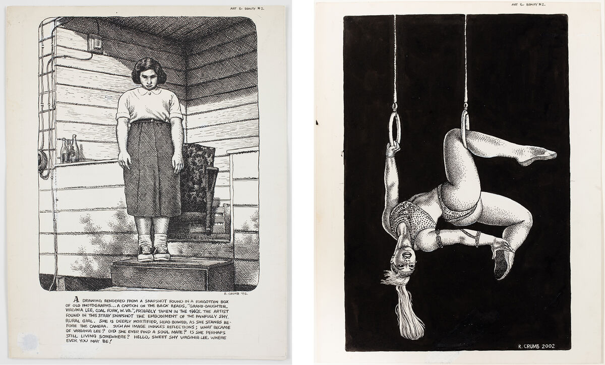 Untitled (2002) and Untitled (2002). Pages from Art & Beauty Magazine, Number 2, 2003. Right: © Robert Crumb, 2002.  Courtesy of the artist, Paul Morris, and David Zwirner, New York/London.