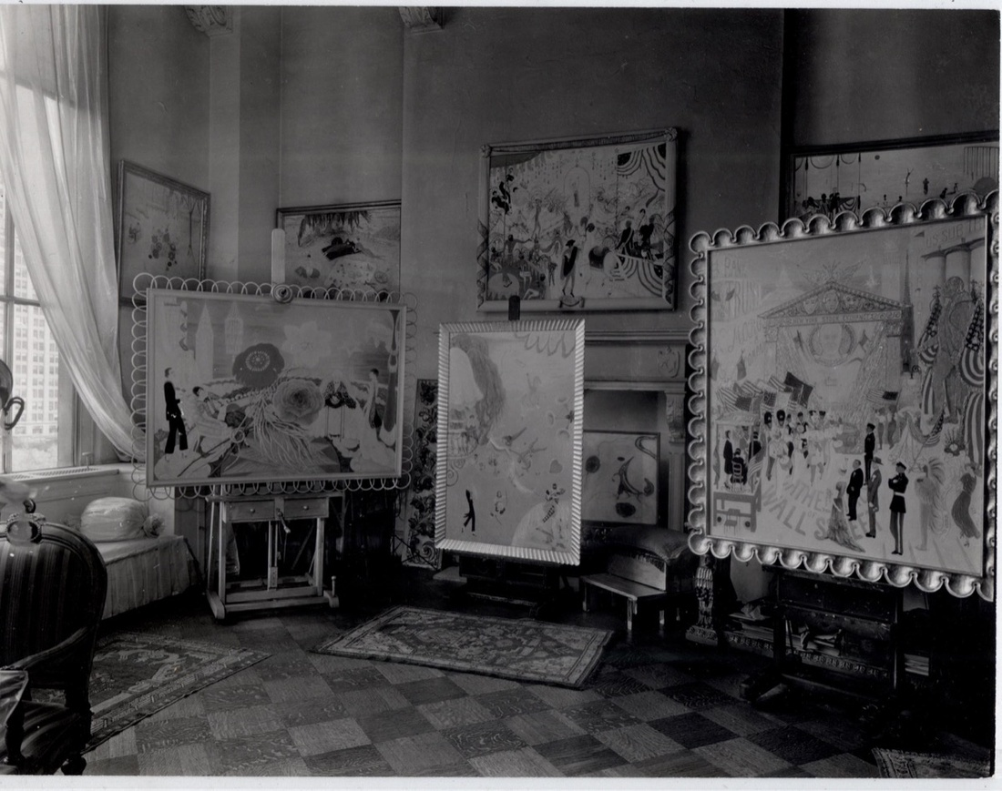 Florine Stettheimer's studio at the Beaux-Arts Building, New York, 1944. Photograph by Peter A. Juley & Son. Courtesy of the Florine Stettheimer Papers, Rare Book and Manuscript Library, Columbia University.