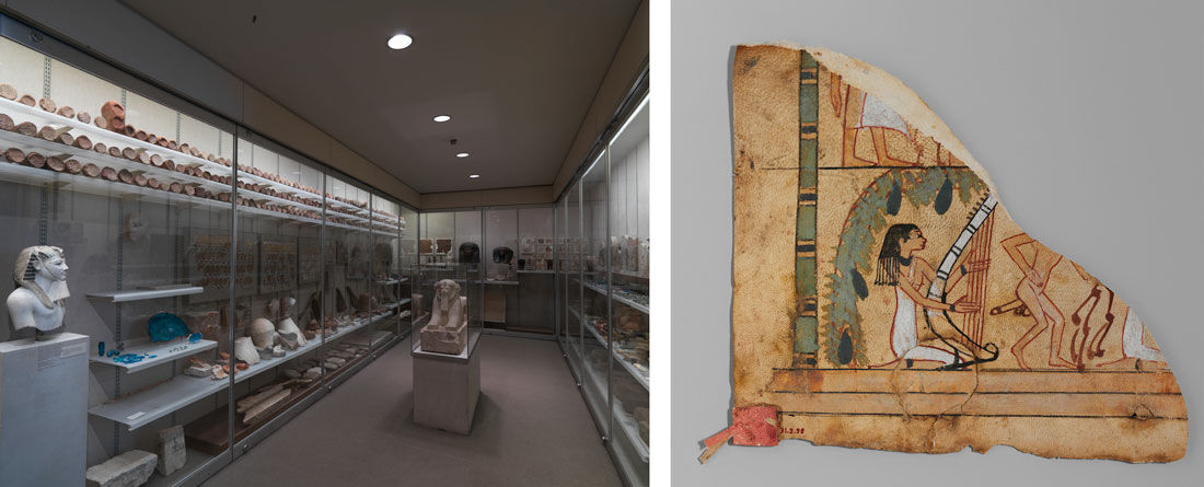 Left: Early Dynasty Gallery 18. Right: Fragment of a Leather Hanging(?) with an Erotic Scene from the New Kingdom, Dynasty 18, Reign of Ahmose I to Hatshepsut, ca. 1550–1458 B.C. Images: © The Metropolitan Museum of Art, New York.