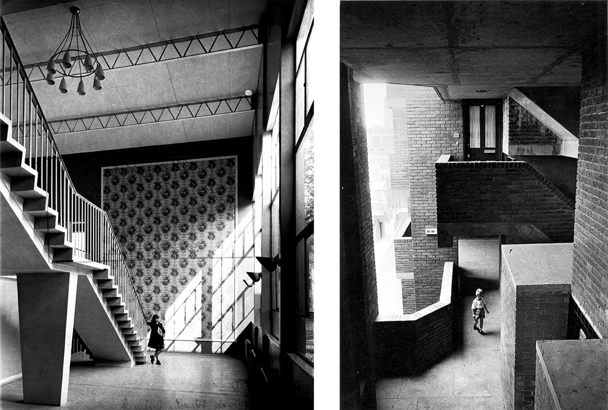 Left: Primary School, Dulwich, London, RIBA Collections. Right: Lillington Gardens Estate, Pimlico, London, Tony Ray-Jones / RIBA Collections.