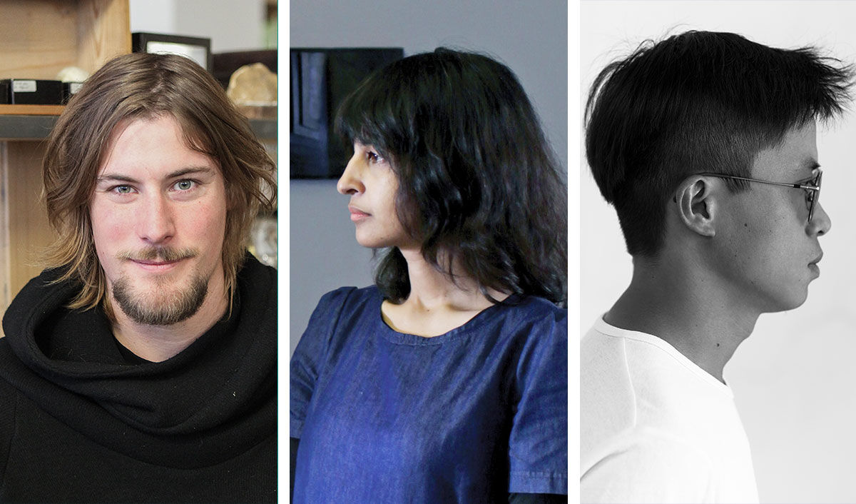 Portraits of Julian Charrière, Astha Butail, and Lin Ke courtesy of BMW.