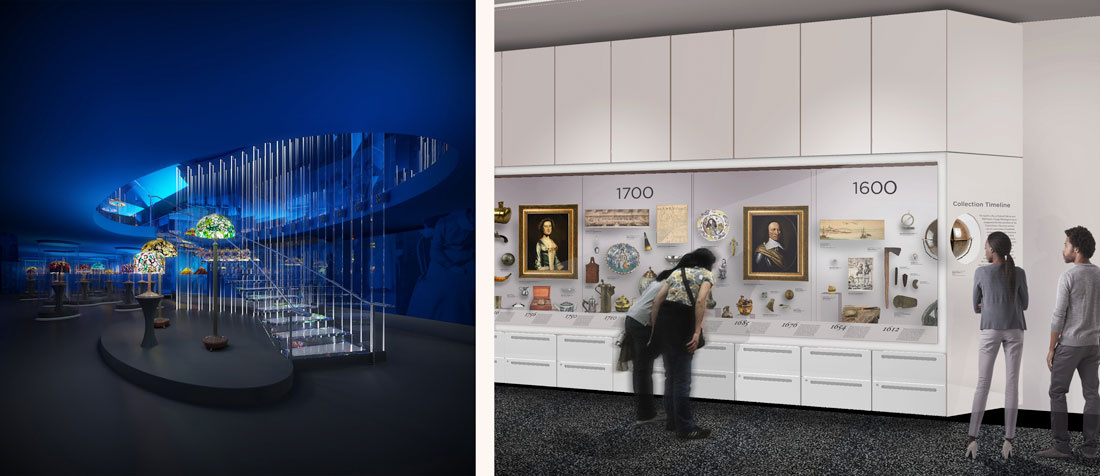 Left: Rendering of glass staircase in the Tiffany Gallery, 4th Floor, New-York Historical Society. Courtesy of Eva Jiřičná Architects. Right: Rendering of the Object Timeline in the West Gallery, 4th Floor, New-York Historical Society. Courtesy of the New-York Historical Society.
