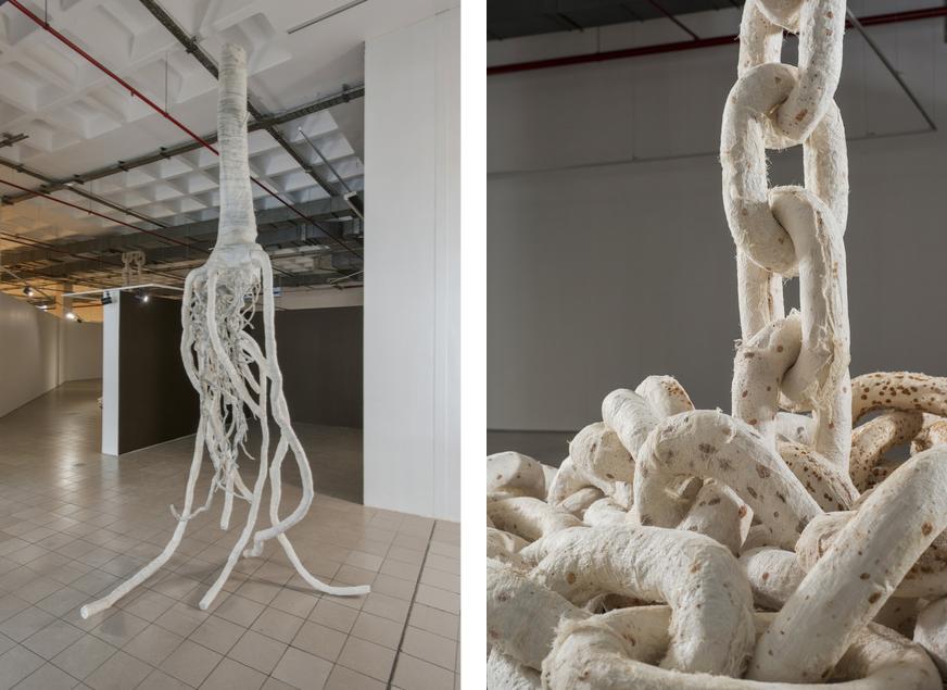 Azade Köker,Rhizom, 2015 andEntkettet, 2015, courtesy ofElgiz Museum of Contemporary Art and Galeri Zilberman.