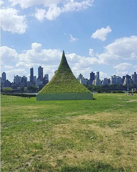 Agnes Denes' Living Pyramid (2015). Image courtesy @exp.nyc, via Instagram.