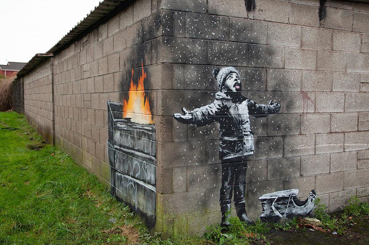 The new Banksy mural in Port Talbot, Wales. Via banksy.co.uk.