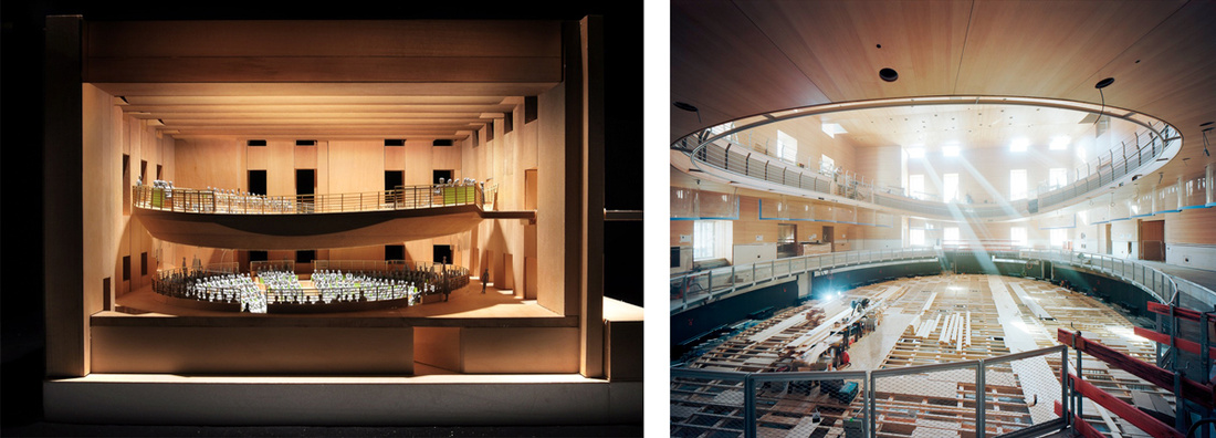 Left: Rendering of Pierre Boulez Saal, © Gehry Partners; Right: Pierre Boulez Saal, September 2016 © Volker Kreidler. Courtesy of Gehry Partners.