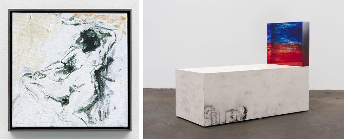 Tracey Emin's Lean Back (2015) and Sterling Ruby's Acts Adultism (2015) on view at Xavier Hufken's booth at Art Basel in Hong Kong, 2016. Courtesy of the fair and the gallery.