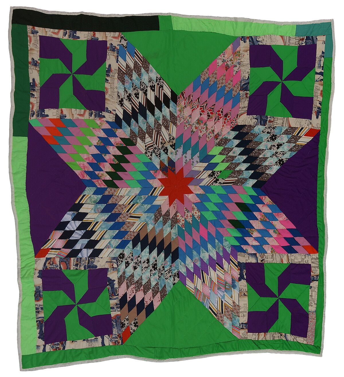 """Lucy T. Pettway, Blazing Star (quiltmaker's name) with """"pinwheel"""" corner blocks, 1968. Acquired by the Museum of Fine Arts, Boston. Courtesy Souls Grown Deep Foundation."""