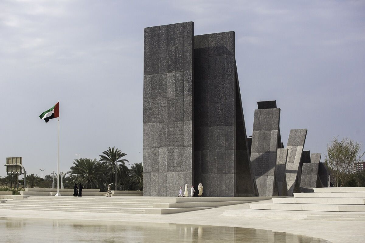 Artwork by Idris Khan at the Wahat Al Karama memorial park in Abu Dhabi. Courtesy of UAP.