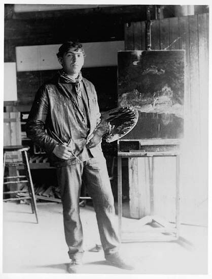N.C. Wyeth in his studio, ca. 1903-04. Photo via Wikimedia Commons.