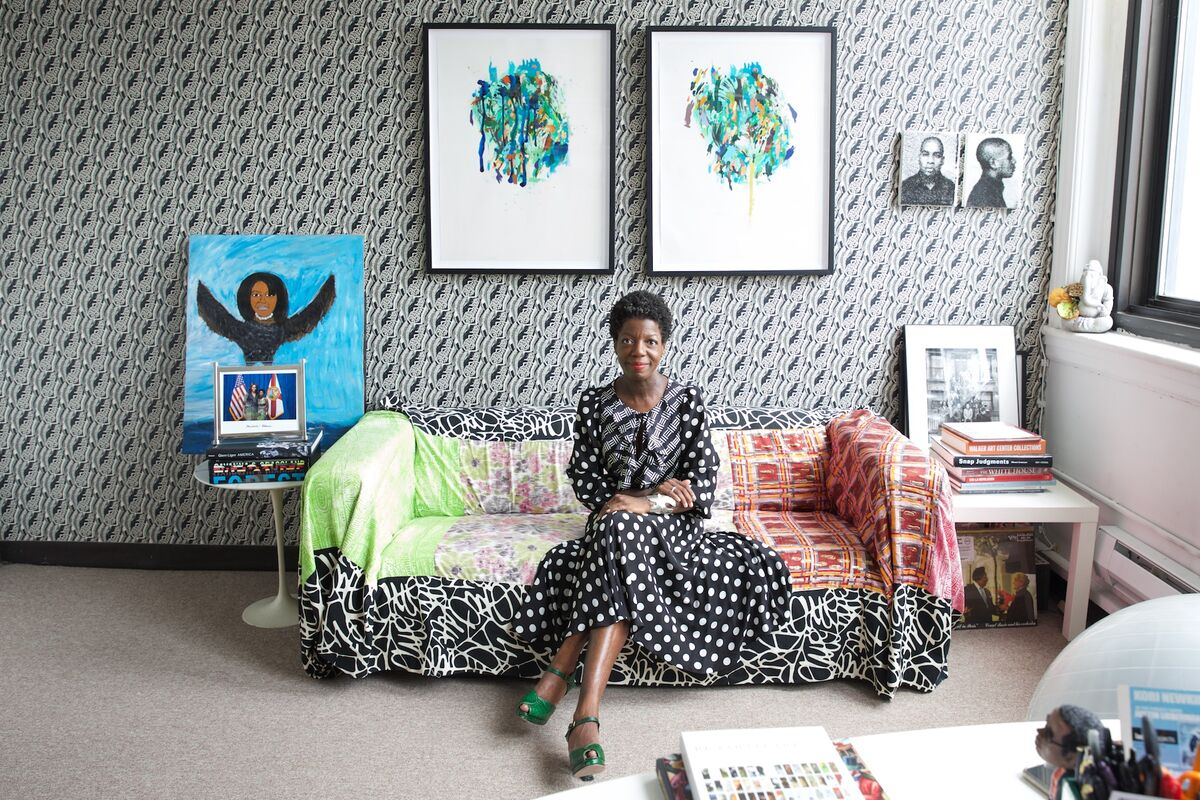 Thelma Golden in her office at the Studio Museum in Harlem. Photo by Julie Skarratt, courtesy of the Studio Museum in Harlem.