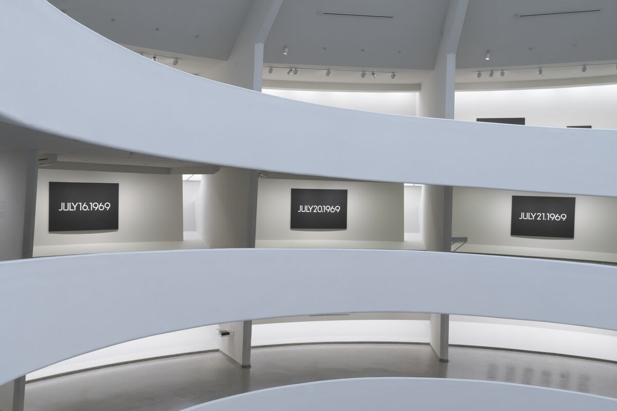 "Installation view of ""On Kawara—Silence"" courtesy of the Guggenheim. Photo by David Heald, © Solomon R. Guggenheim Museum."