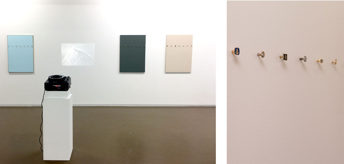 Left: Installation view of Room East's booth at Independent Brussels, 2016. Right: Detail view of Julien Monnerie, Manchette, 2015. Photos courtesy of Room East.