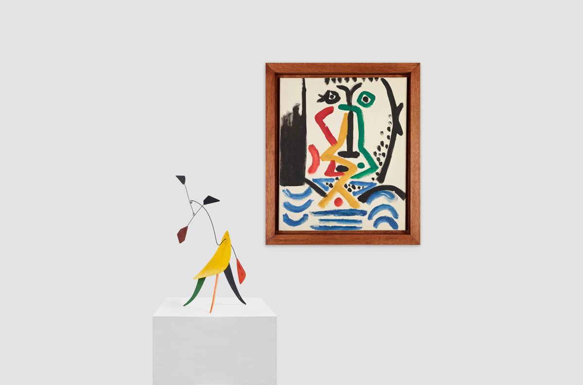 Alexander Calder, Untitled. c. 1942.  © 2016 Calder Foundation / Artists Rights Society (ARS). Pablo Picasso, Portrait of a Bearded Man, Mougins, 5 December 1964. © 2016 Succession Picasso / Artists Rights Society (ARS). Images courtesy of Almine Rech.