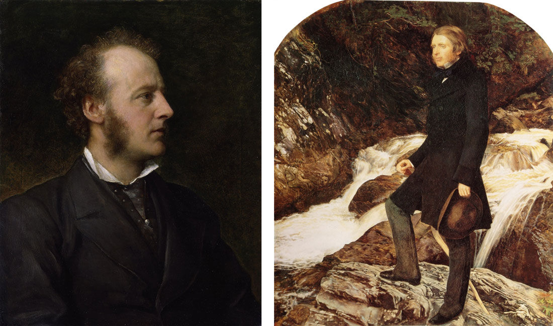 Left: Portrait of Sir John Everett Millais, 1st Bt, by George Frederic Watts. Collection of the National Portrait Gallery, via Wikimedia Commons; Right: Portrait of John Ruskin (1853-1854) by John Everett Millais. Collection of the Ashmolean Museum, via Wikimedia Commons.