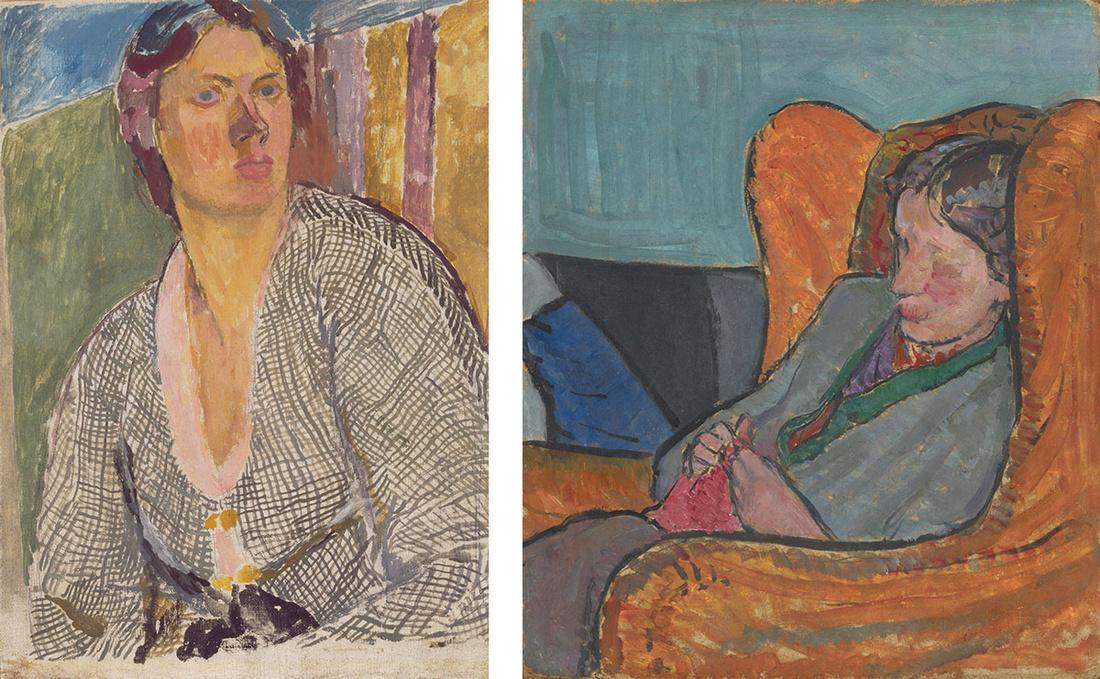 Left:Vanessa Bell, Self –Portrait, ca. 1915.Yale Center for British Art, Paul Mellon Fund. © The Estate of Vanessa Bell, courtesy of Henrietta Garnett. Right:Vanessa Bell, Virginia Woolf. © National Portrait Gallery, London.