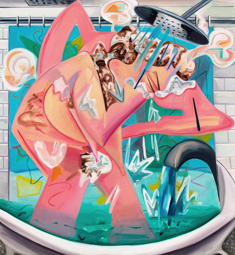 Dana Schutz,Slow Motion Shower, 2015, courtesy of the artist and Petzel, New York
