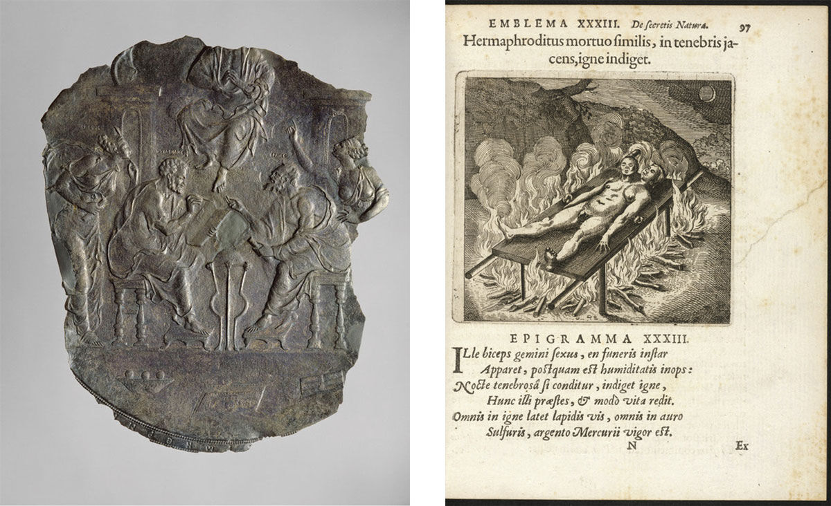 Left: Eastern Mediterranean, Hermes Trismegistos Teaching Ptolemy the World System, ca. 500-600. Image courtesy of the J. Paul Getty Museum, L.A. Right: Matthaus Merian the Elder, The Chemical Wedding of Hermes and Aphrodite. Image courtesy of the Getty Research Institute.