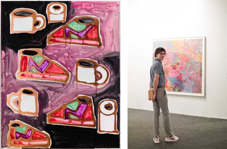 Left: Katherine Bernhardt, New Balance, coffee and toilet roll (2016). Courtesy of Carl Freedman Gallery. Right: Art Los Angeles Contemporary, Opening Night, January 28, 2016. Photos by Gina Clyne, courtesy of Art Los Angeles Contemporary.