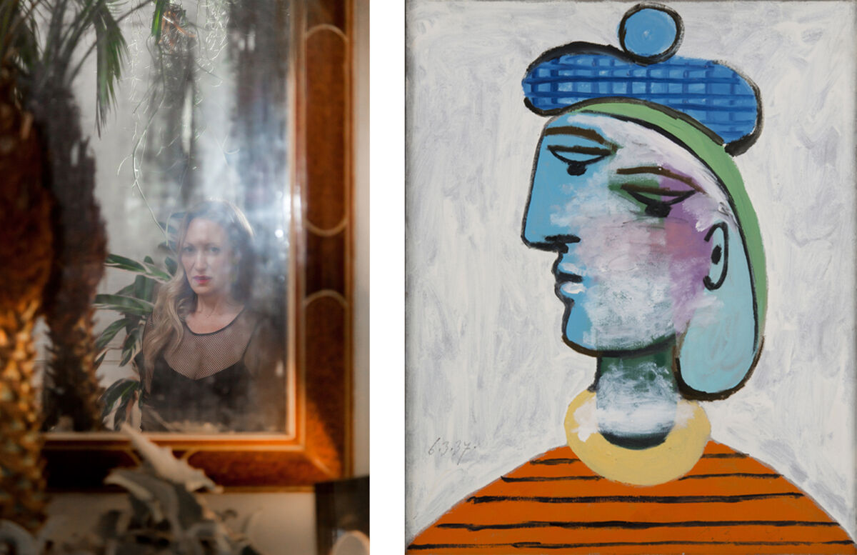 "Left: Portrait of Diana Widmaier-Picasso by Fred Lahache for Artsy. Right: Pablo Picasso, Marie-Thérèse au béret bleu, 1937, in ""Picasso.mania"" at RMN Grand Palais. © Succession Picasso /Artists Rights Society (ARS), New York 2015 Photo Béatrice Hatala."