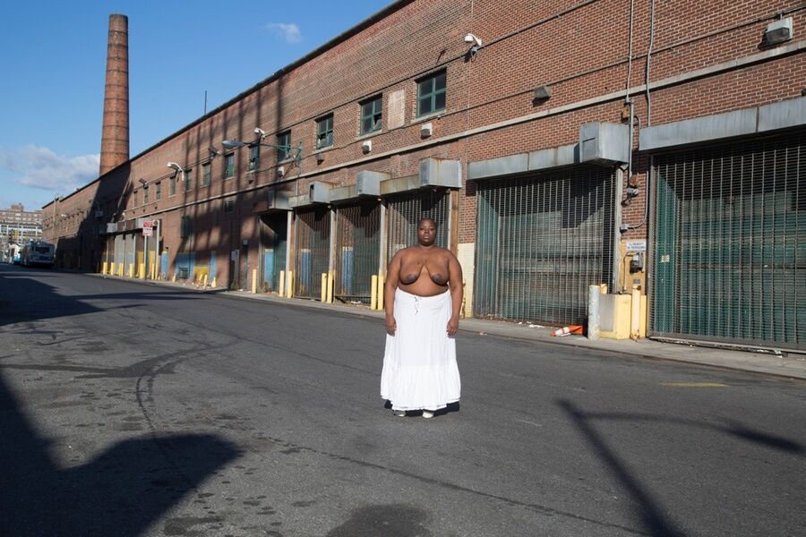 "Nona Faustine, ""Negro Burial Ground,"" MTA Bus Depot Harlem NYC, 2016. Image courtesy of the artist."