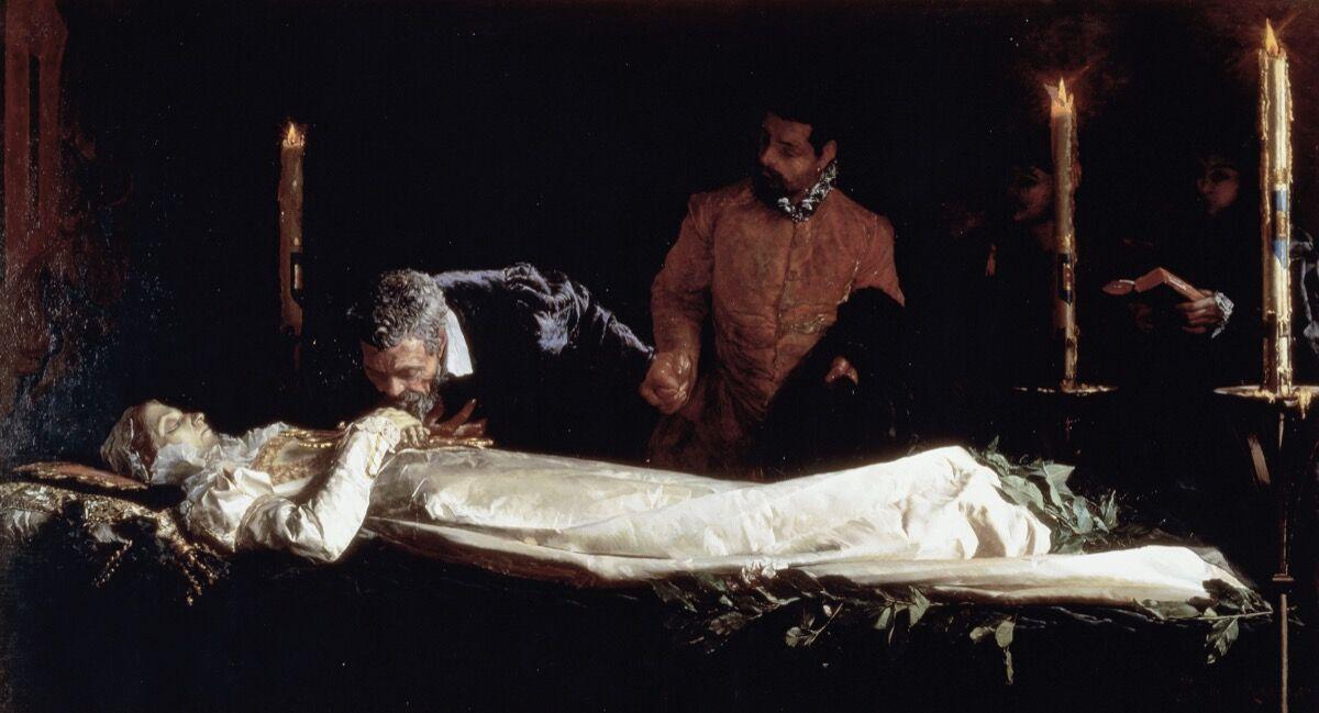 Francesco Jacovacci, Michelangelo honoring dead body of Vittoria Colonna, 1880. Photo by DEA/PEDICINI/Getty Images.