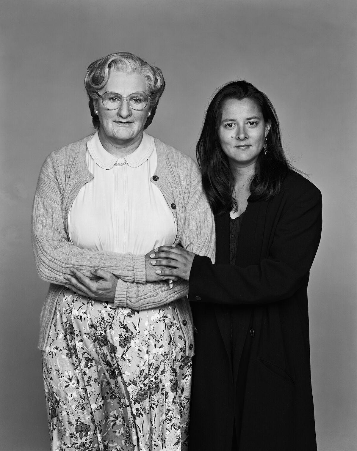 Robin Williams as Mrs. Doubtfire with Marsha Williams, 1993. Photo © Arthur Grace.