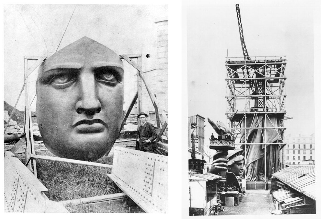 Left: Liberty's face on Liberty Island, waiting to be attached to Statue. Right: The statue scaffolding in Paris, about halfway completed.