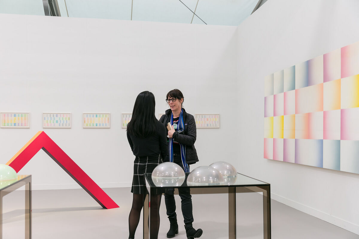 Installation view of Deitch's booth at Frieze Los Angeles, 2019. Photo by Mark Blower. Courtesy of Mark Blower/Frieze.