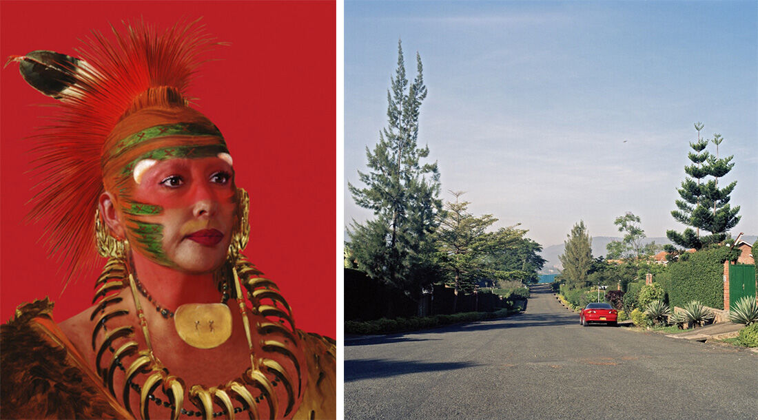 Left: Orlan, American Indian Self-Hybridization #1: Painting portrait of No-No-Mun-Ya, One who Gives No Attention, with Orlan's photographic portrait, 2005. Image courtesy of the artist. Right: Mimi Cherono Ng'ok, Do You Miss Me? Sometimes, Not Always (2015). Image courtesy of the artist.